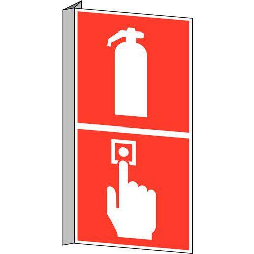 panneau anti incendie extincteur et bouton d 39 alarme d 39 incendie. Black Bedroom Furniture Sets. Home Design Ideas