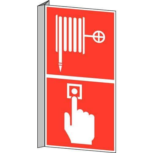 panneau anti incendie lance incendie et bouton d 39 alarme ince. Black Bedroom Furniture Sets. Home Design Ideas