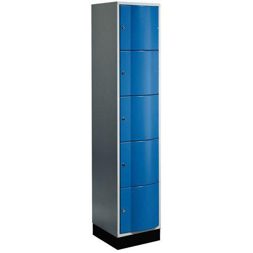 Vestiaire 5 cases porte antivandalisme - 1 colonne largeur 400 mm - Sur socle