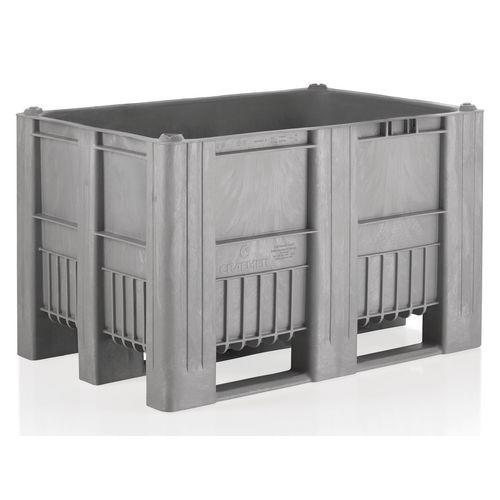 Caisse-palette plastique monobloc - Grise - 3 semelles