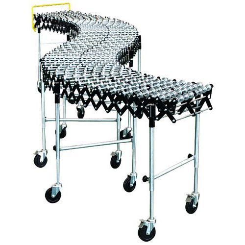 Convoyeur galets acier extensible - Largeur de 500 mm à 600 mm