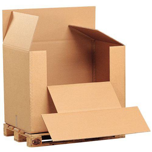 Caisse-conteneur antichoc pour palette - Double cannelure - Manutan
