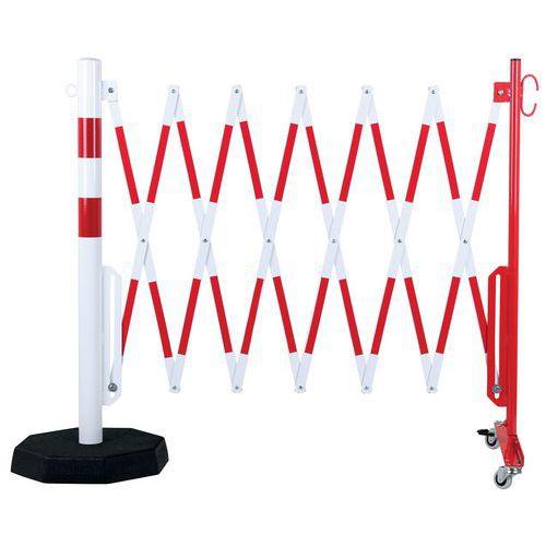 Barrière extensible sur roulettes avec poteau à socle lourd - Crash stop®