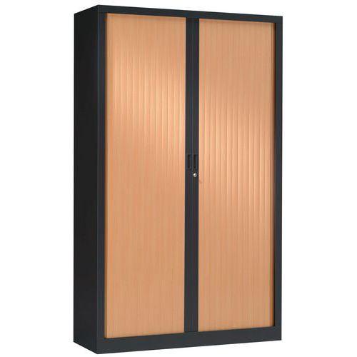 Armoire à rideaux ton bois haut 198 cm