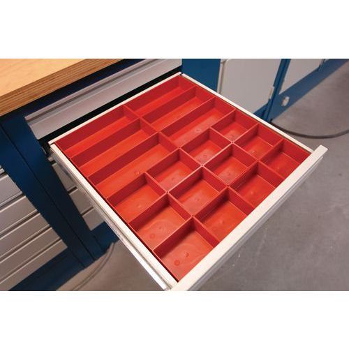 kit de compartimentage pour tiroir plastique 18 bacs manut. Black Bedroom Furniture Sets. Home Design Ideas