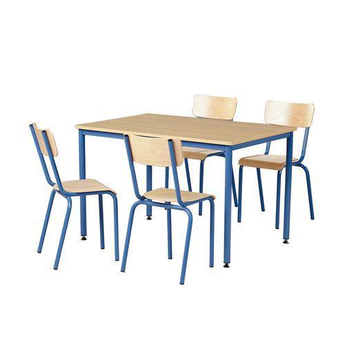 Ensemble chaises table rectangulaire - Plateau mélaminé - 4 places