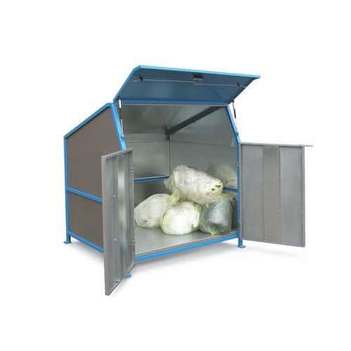 Abri pour conteneurs à déchets Secomat - 3 cloisons, portes et plancher