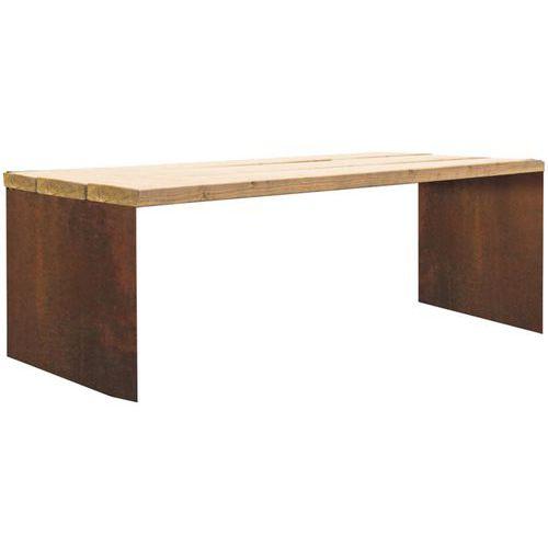 Table Tor 2,04 m bois pin traité acier corten