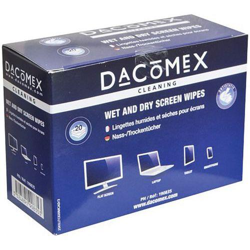 Boîte de 2x10 lingettes humides/séches pour LCD DACOMEX