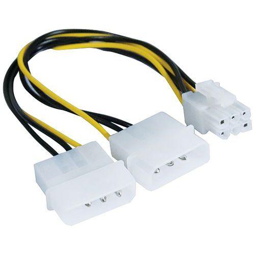 Adaptateur d'alimentation Molex vers PCI-E 6 pins - 25 cm