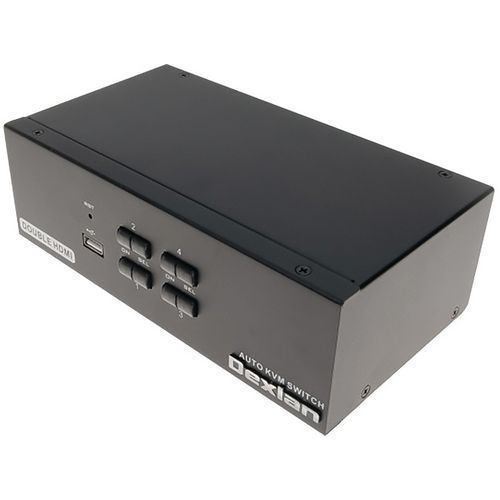 Le Switch KVM 4 ports double ecran HDMI 4K et USB 2.0 et câbles DEXLAN