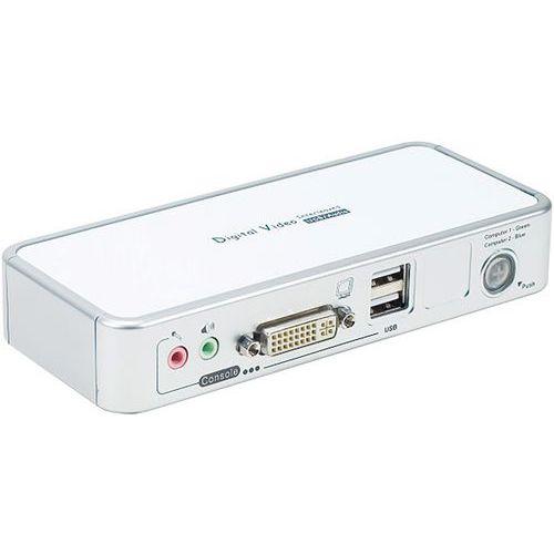 Commutateur Kvm 2 ports DVI/USB 2.0 et Audio et Cables