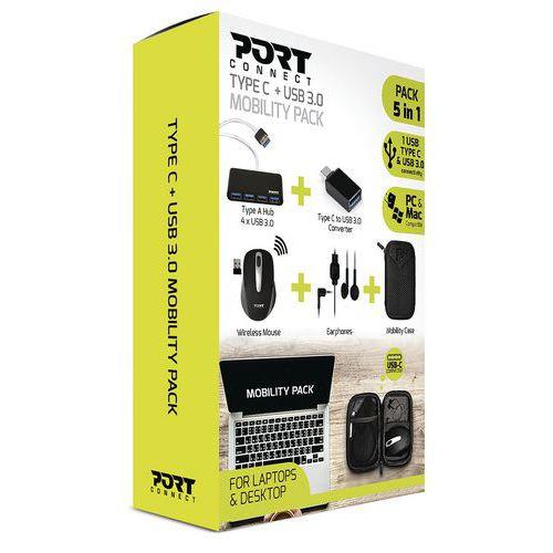 Pack mobilité - souris, écouteurs, hub, convertisseur, housse - Port Design