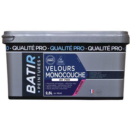 Peinture velours monocouche AV750 - 0.5 L ou 2,5 L - Batir