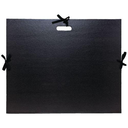 Carton à dessin kraft noir vernis avec rubans et poignée