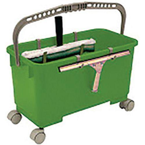 Seau vitrier vert complet seau + grille + 4 roues_ICA