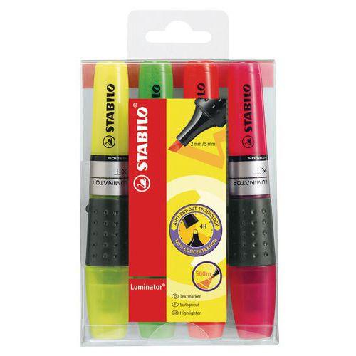 Lot de 4 surligneurs Luminator - coloris assortis - Stabilo