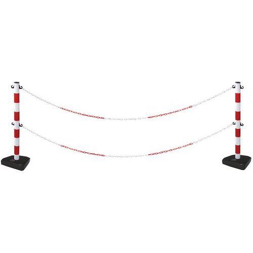 Poteau double chaîne sur socle - Kit 2 poteaux - Manutan