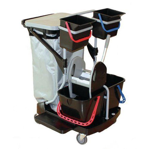 Chariot de lavage avec presse couvercle et sac plastifié - 2 seaux 4 L - Manutan