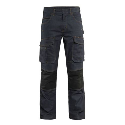 Pantalon services denim/stretch 2D marine/noir