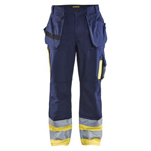 Pantalon artisan haute visibilité marine/jaune, polyester/coton