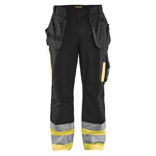 Pantalon artisan haute visibilité noir/jaune, polyester/coton