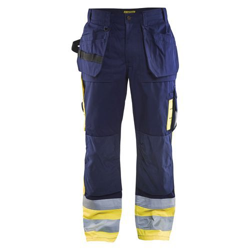 Pantalon artisan haute visibilité marine/jaune fluorescent