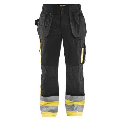Pantalon artisan haute visibilité noir/jaune fluorescent