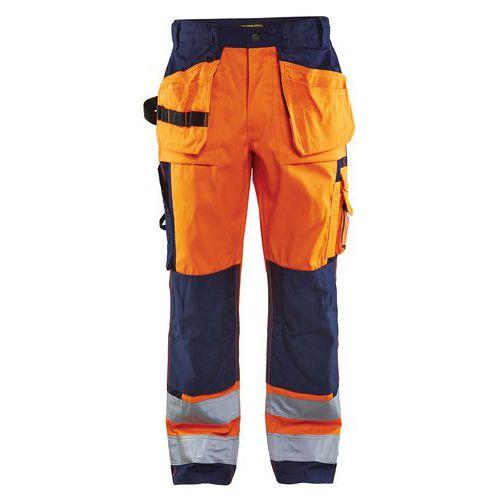 Pantalon artisan haute visibilité orange/marine, genoux préformés