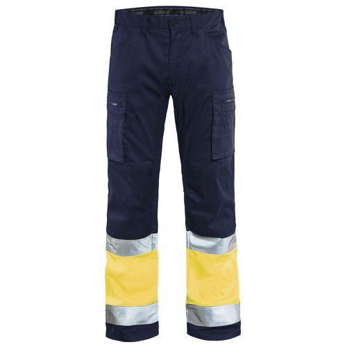 Pantalon artisan stretch haute visibilité marine/jaune fluorescent