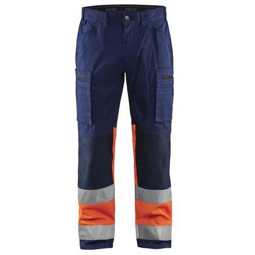 Pantalon artisan stretch haute visibilité marine/orange fluorescent