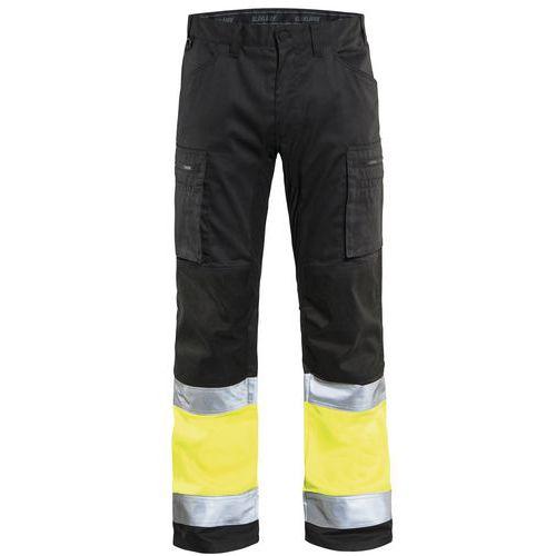 Pantalon artisan stretch haute visibilité noir/jaune fluorescent