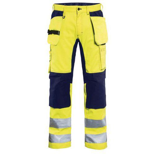 Pantalon artisan stretch haute visibilité jaune/marine genoux préformé