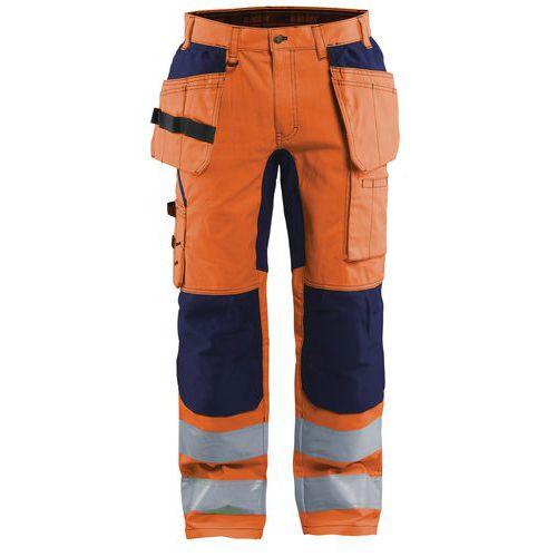 Pantalon artisan stretch haute visibilité orange fluorescent/marine