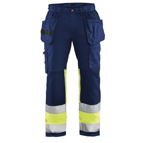 Pantalon artisan haute visibilité stretch marine/jaune fluorescent
