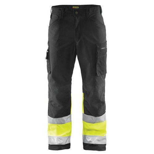 Pantalon softshell haute visibilité noir/jaune fluorescent