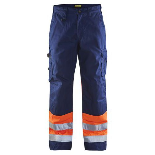 Pantalon haute visibilité marine/orange fluorescent