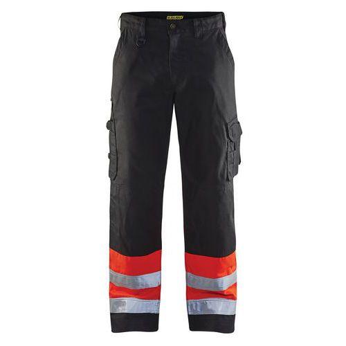Pantalon haute visibilité noir/rouge fluorescent