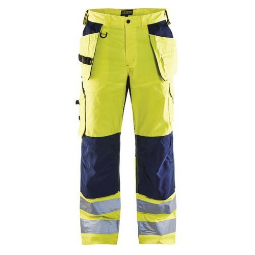 Pantalon artisan aéré haute visibilité jaune fluorescent/marine