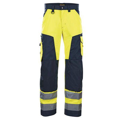 Pantalon haute visibilité jaune fluorescent/marine