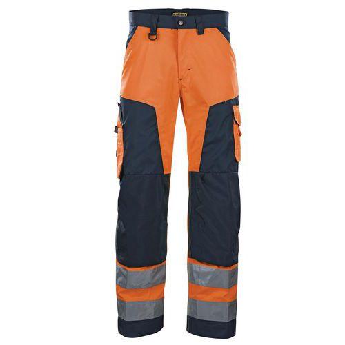 Pantalon haute visibilité orange fluorescent/marine