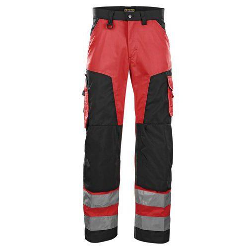 Pantalon haute visibilité rouge fluorescent/noir