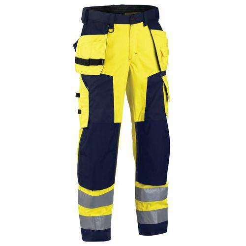 Pantalon artisan softshell haute visibilité jaune fluorescent/marine