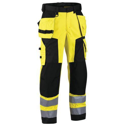 Pantalon artisan softshell haute visibilité jaune fluorescent/noir