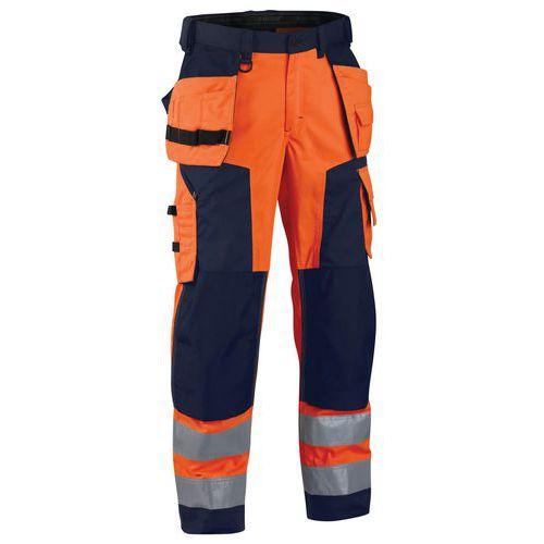 Pantalon artisan softshell haute visibilité orange fluorescent/marine