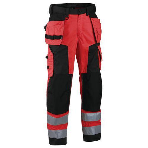 Pantalon artisan softshell haute visibilité rouge fluorescent/noir
