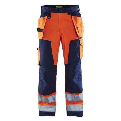 Pantalon artisan haute visibilité orange fluorescent/marine