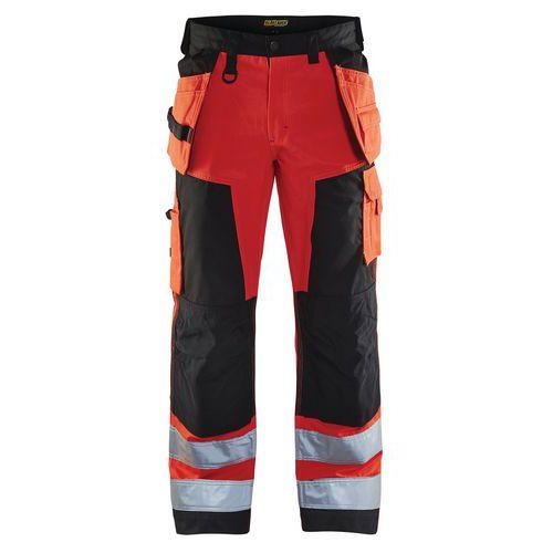 Pantalon artisan haute visibilité rouge fluorescent/noir