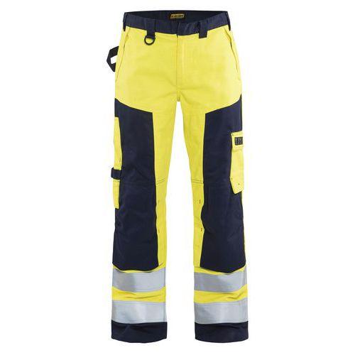 Pantalon artisan multinormes jaune fluorescent/marine