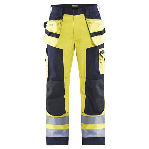 Pantalon artisan multinormes jaune/marine, poche jambe avec rabat